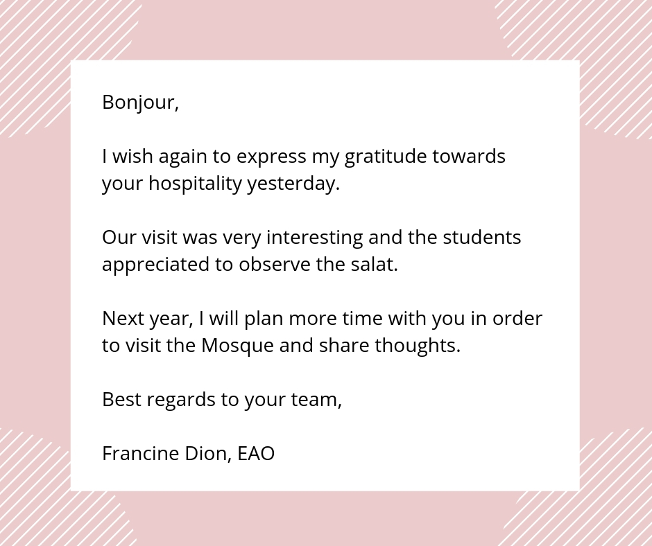 thank you letter after mosque tour